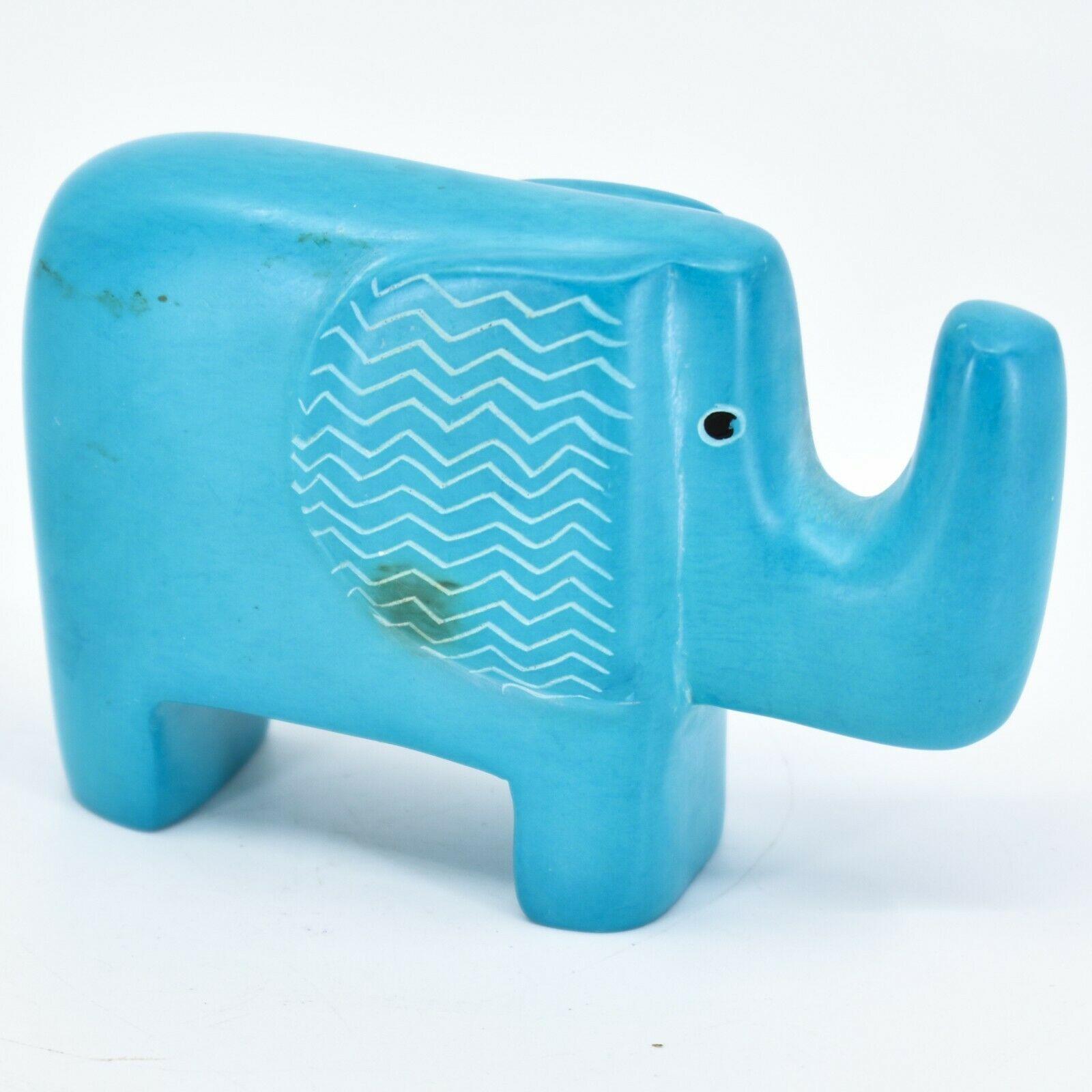 Hand Carved Kisii Soapstone Aqua Sky Blue Bashful Elephant Figure Made in Kenya