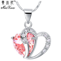 Heart Necklace Women Sterling Silver Necklaces Crystal Pendant Purple Pi... - $7.99