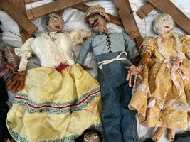 """Lot (10) Antique Handmade Marionette Doll Wood Resin 12.5"""" to 20"""" Man Woman image 3"""