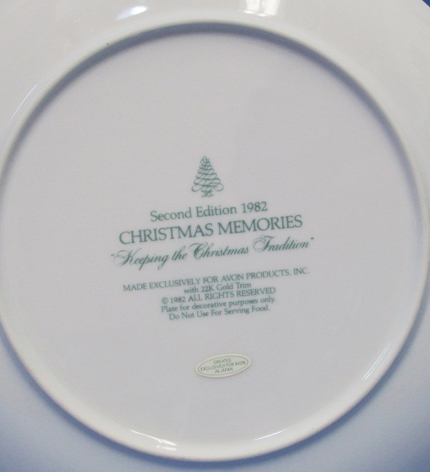 Vintage 1982 Collectors Plate Avon Christmas Memories Keeping The Tradition 22K image 3