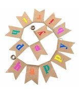 Happy Birthday Multi Color Burlap Party Banner, Hanging Garland Kids & A... - $23.52