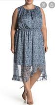 Vince Camuto Plus 2X Dress Blue Floral Sleeveless Midi Blouson Ruffle He... - $67.68