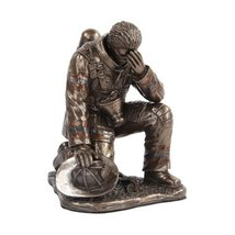 5.75 Inch Bronze Colored Fireman Reflecting on One Knee Figurine - $39.60