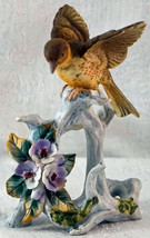 Lovely Lefton Bisque Bird on  A Branch with Flowers Nice Figurine - $19.99