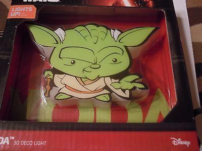 Star Wars Yoda 3D Deco Wall Light  Kids Bedroom Official Mini Yoda Disney