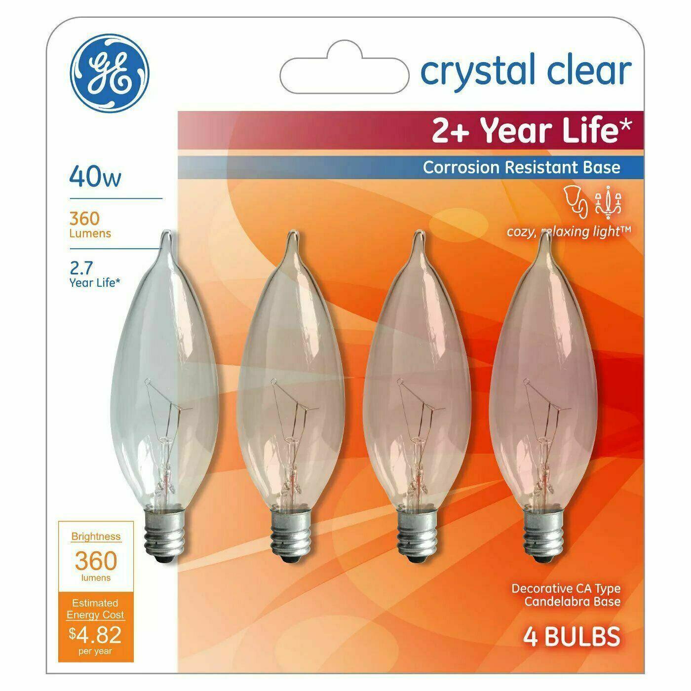 4 GE Lighting 40cac/l/bb Cd4 Ge Lighting 40w, Ca10 Incandescent Bulbs