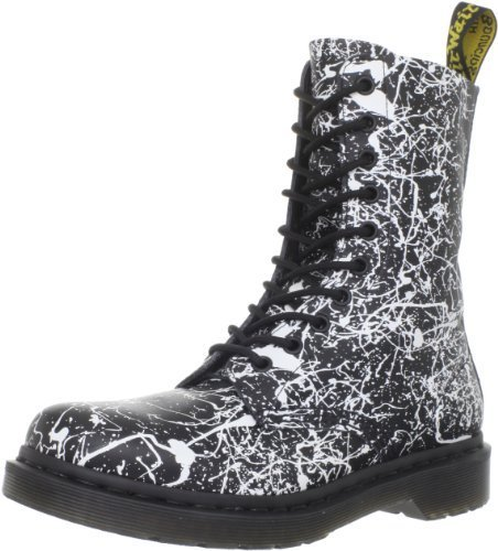 Dr. Martens Women's 1490 W 10 Eye Boot,Black/White Paint Splatter,3 UK/5 M US