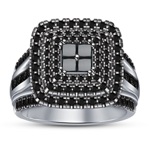 Princess Cut Black Sim Diamond Bridal Wedding Ring White Gold Plated 925... - $97.50