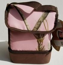 Realtree Insulated Lunch Bag AP Pink Camo Zippered Bottom Compartment Sc... - $12.95