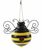 "7.68"" Bee Shaped Hanging Birdhouse Black & Yellow w Black Metal Wings Polystone"
