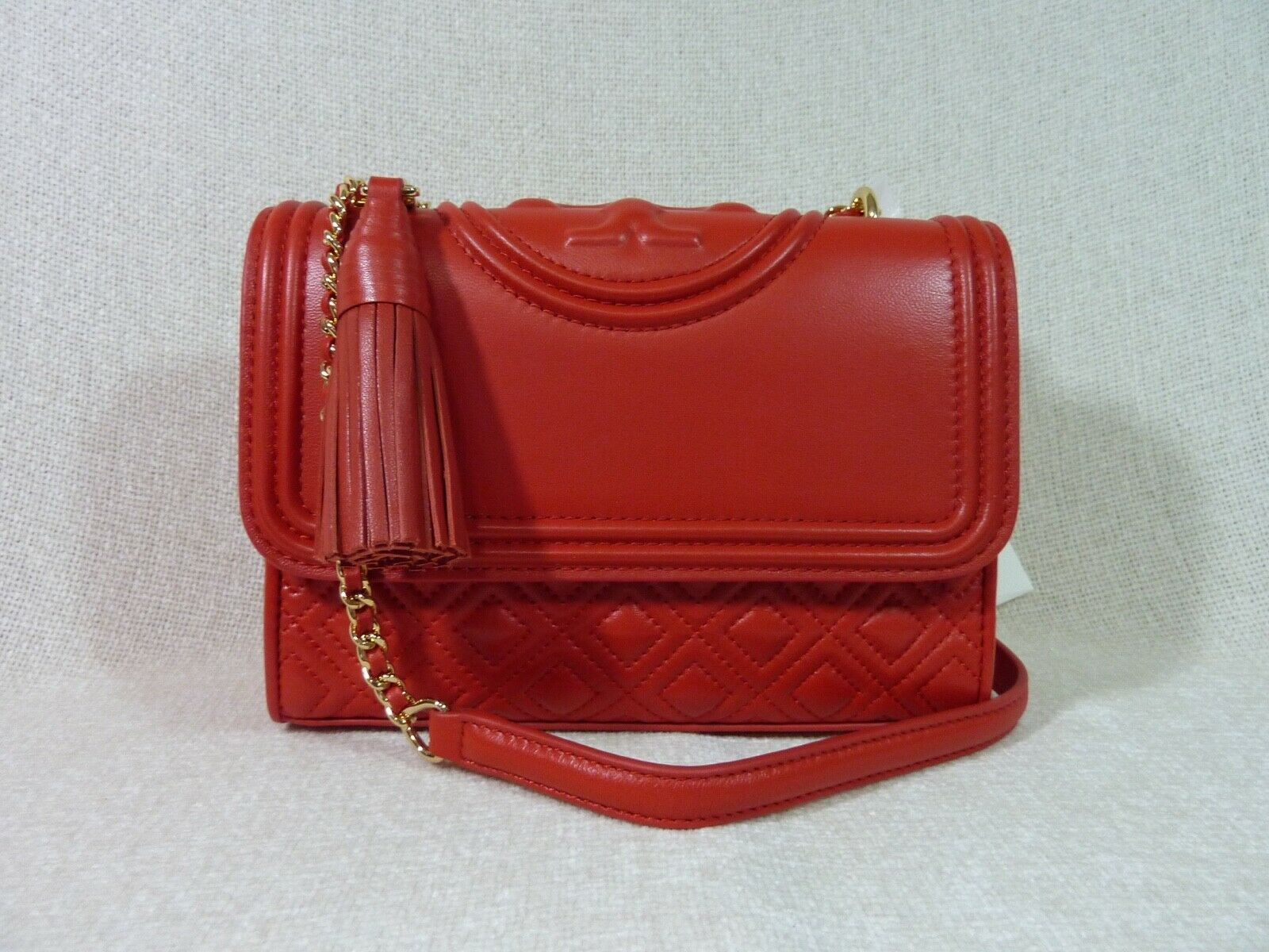 NWT Tory Burch Red Volcano Leather Small Fleming Convertible Bag $450