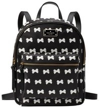 Kate Spade Small Bradley Wilson Road Nylon Backpack Black & Cream Bow NWT - $199.00