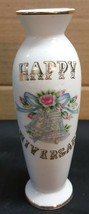 I) Lefton Happy Anniversary Hand Painted Flower Vase Glass White Gold To... - $5.93