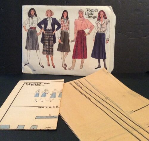 Primary image for Vogue Basic Sewing Pattern 1061 Skirt 14 16 18 Uncut A Line Knee Calf Length FF
