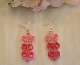 Handcrafted Paper Quill Triple Pink Hearts  Drop Earrings - $14.99