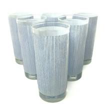 Mikasa Pinstripe Blue White 14 Ounce Highball Tea Tumbler Glasses Set Of 6 - $74.20