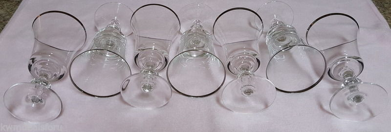 Collectible Heavy Glass Pitcher 7 Silver Rimmed Crystal Like Glass Wine Goblets