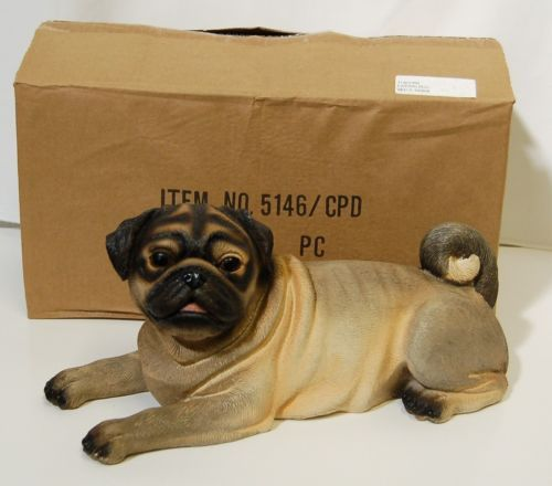 Expo Inc 5146CPU Laying Pug Made of Resin 14 Inches Long