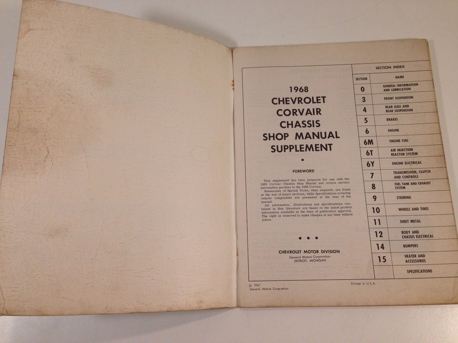 1968 Chevrolet Corvair Factory Chassis Shop Manual Supplement Original OEM
