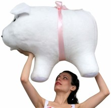 American Made Giant Stuffed Pig 32 Inch Soft White Big Plush Hog Farm An... - $153.21