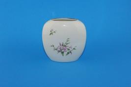 Russ Berrie & Co Inc Beige Bud Vase Pink Morning Glory Gold Trim #4439 J... - $14.85