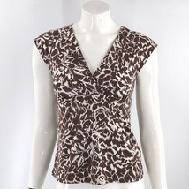 BCBG Max Azria Top Size Medium Brown V Neck Tie Back Cap Sleeve Stretch ... - $16.83