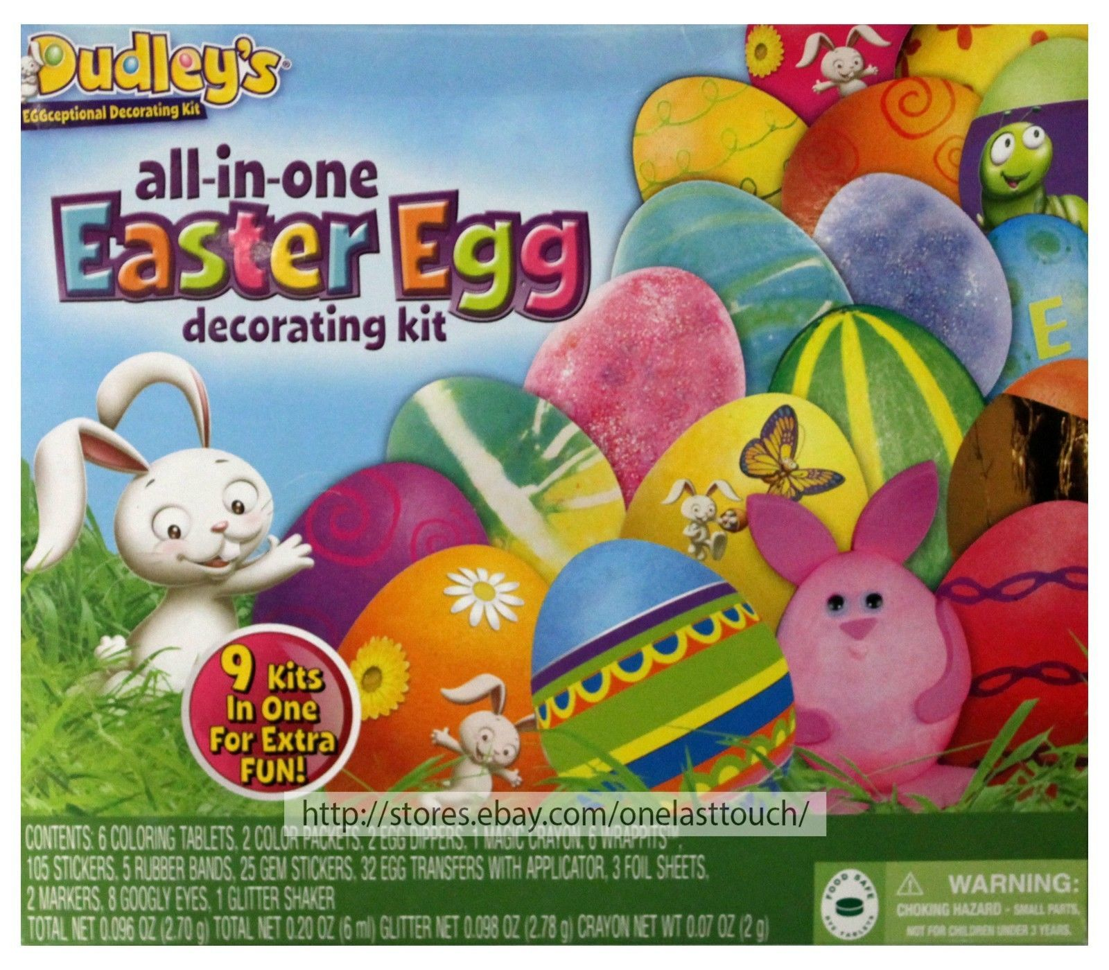 DUDLEY'S* 198pc ALL-IN-ONE Easter Egg DECORATING KIT Food Safe Dye Tablets NEW!