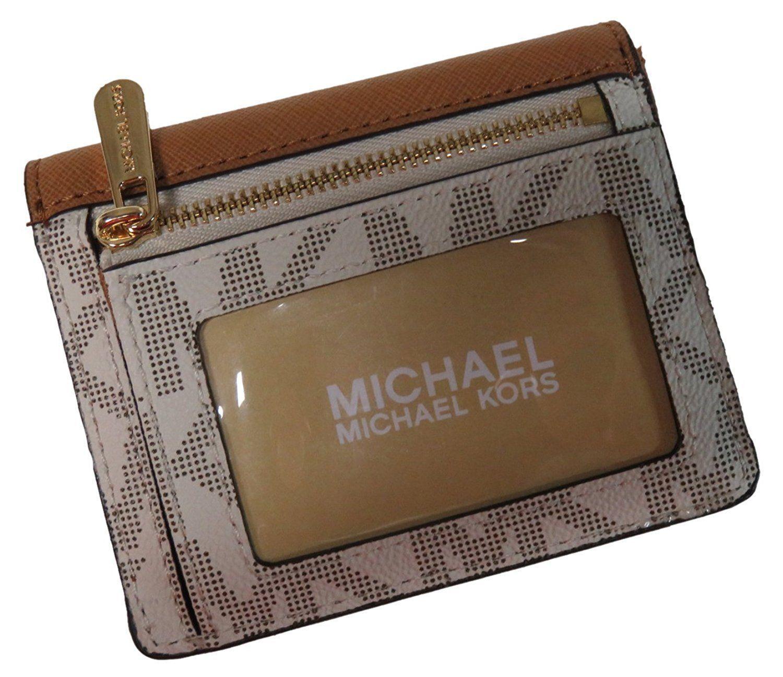 c8d270cef11877 NWT Michael Kors Leather PVC Jet Set Travel Card Case ID Key Holder Wallet