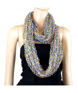 Confetti Infinity Scarf, Gold, Blue, and Pink - $7.99