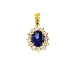 18K YELLOW GOLD FLOWER PENDANT BIG OVAL BLUE 9x7mm CRYSTAL CUBIC ZIRCONIA FRAME image 1