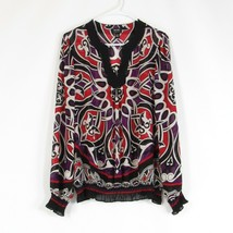 Purple red geometric NICOLE BY NICOLE MILLER sheer blouse L - $19.99