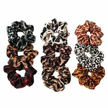 9 Pcs Satin Hair Scrunchies Leopard Print Hair Band Ponytail Holder Elastics Hai
