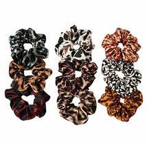 9 Pcs Satin Hair Scrunchies Leopard Print Hair Band Ponytail Holder Elastics Hai