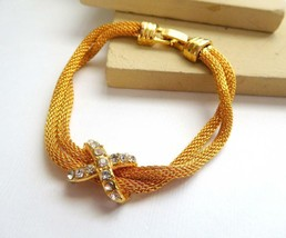 "Retro Yellow Gold Tone Double Mesh Chain Clear Rhinestone X 7 1/4"" Brace... - $4.94"
