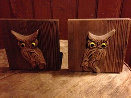VTG RETRO 2  WOOD OWL BOOKENDS &  2 wall hangings - MID CENTURY MODERN M... - $35.64