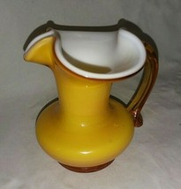 Kanawha Small Cased Glass Pitcher White Butterscotch Yellow Applied Handle 4 In - $24.99
