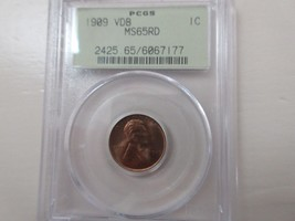 1909 VDB Lincoln Cent  PCGS MS65RD - $250.00