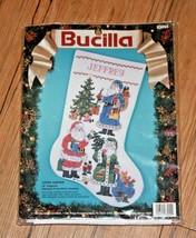 "Bucilla 83055 Lotsa Santas Stamped Cross Stitch Stocking 18"" Diagonal 1993 - $37.99"