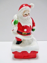 Lefton Santa Claus Music Box Plays Christmas Songs Ceramic Santa on Chimney - $29.80