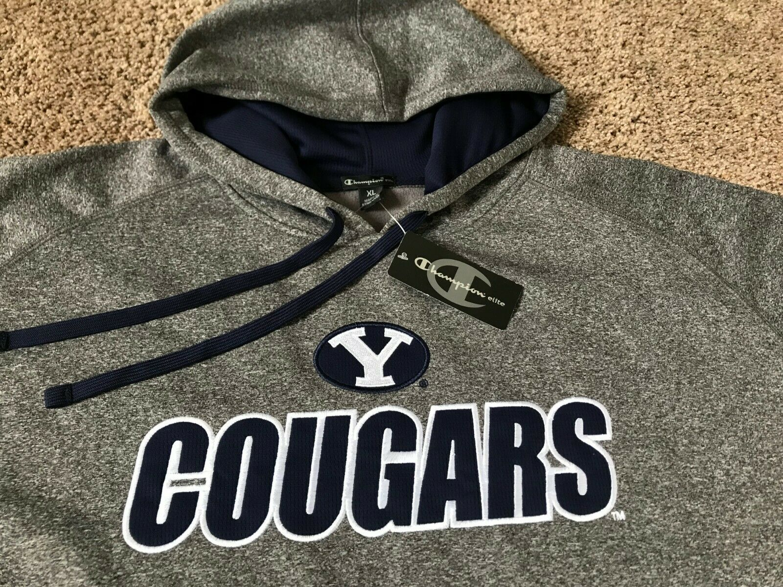 BRIGHAM YOUNG COUGARS BYU HOODED SWEATSHIRT HOODIE MENS 2XL XXL XL CHAMPION GREY