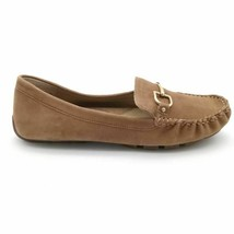 Lands' End Womens Driving Moccasins Flat Shoes Brown Leather Horsebit 7B - $39.59