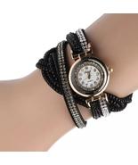 Fashion Casual Gold Quartz Women Rhinestone Watch Braided Leather Bracel... - $8.28