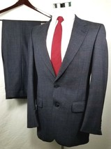 Burberrys Suit Mens Size 38 Long 34 x 31 Blue Plaid 100% Wool Two Button... - $112.81