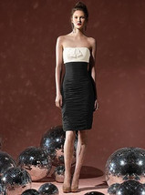 Dessy  8107...Cocktail length, Strapless, Chiffon Dress....Black / Ivory... - $49.49