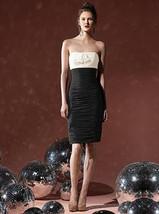 Dessy  8107...Cocktail length, Strapless, Chiffon Dress....Black / Ivory... - €42,70 EUR