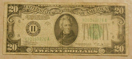 Series 1934 B Twenty Dollar Federal Reserve Note.   - $33.81