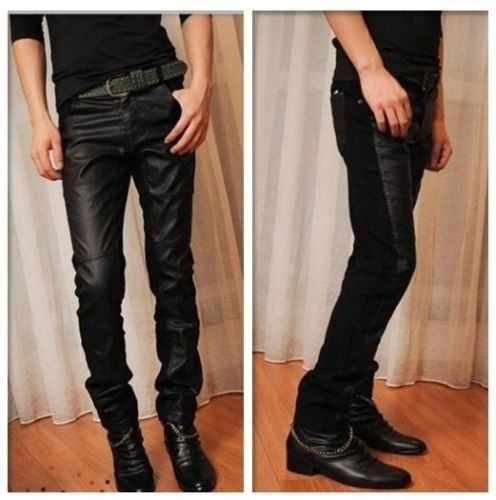 Mens Trousers Black PU leather and Denim Skinny Casaul Jeans 29-34 (Size: 29)