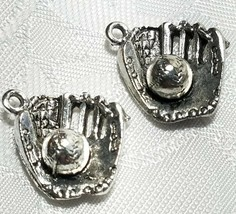 BASEBALL IN GLOVE 3D FINE PEWTER PENDANT CHARM MADE IN THE UNITED STATES