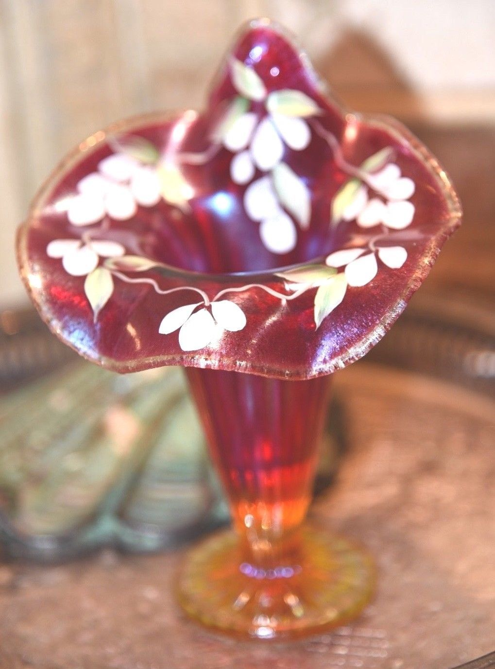Fenton Cranberry Amberina Opalescent Fine Rib Jack-In-The-Pulpit Hand Painted 7""