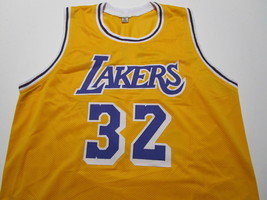 MAGIC JOHNSON / NBA HALL OF FAME / AUTOGRAPHED LAKERS YELLOW CUSTOM JERSEY / COA image 2